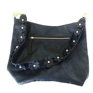 Madden NY Flowers Black Faux Leather Shoulder Bag